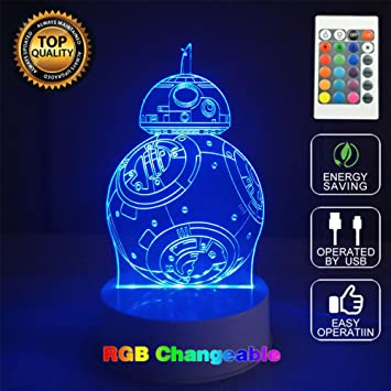 Star Wars BB-8 3D Acrylic LED Night light 7 Color Touch Table Desk Lamp Gift