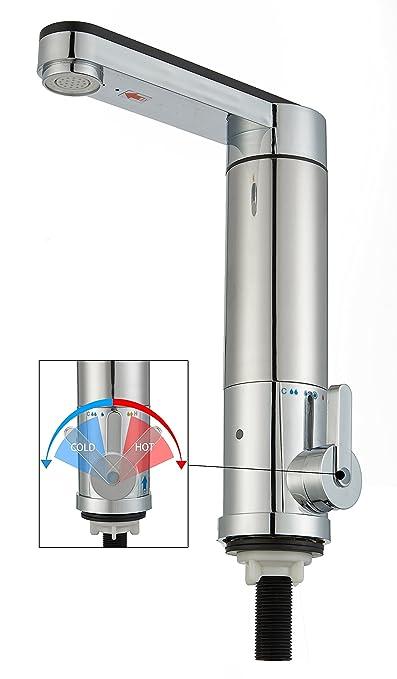 JNOD SJB-30 PRO [Sin Plomo] [Lujo]220V Instante sin tanque Calentador Eléctrico Grifos de cocina, 180°Girar Caliente y fría Calefacción Eléctrica mezclador ...