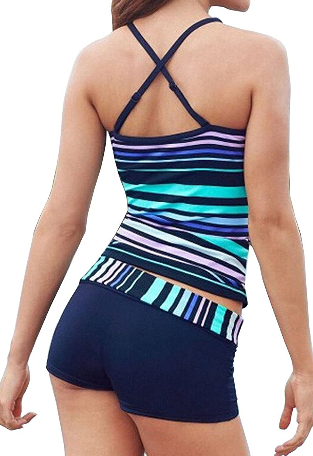 9c016decd434b Amazon.com  Dahanyi Popular Plus-Size Stripes Printed With Boxer Tankini Swimwear  Set  Clothing