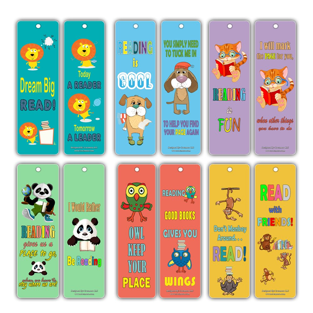 Bookmarks for Kids Bulk (30 Pack) - Animal Bookmarker Cards Set - Literary Gifts - Great Encouragement Gifts for Birthday Thanksgiving Homeschooling Thanksgiving Christmas Holiday Creanoso