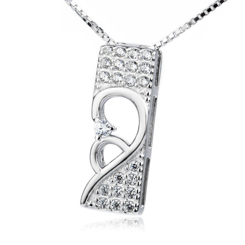 CS-DB Pendants Necklaces Silver Jewelrying Sweet Crystal CZ Shiny Jewelry Girls