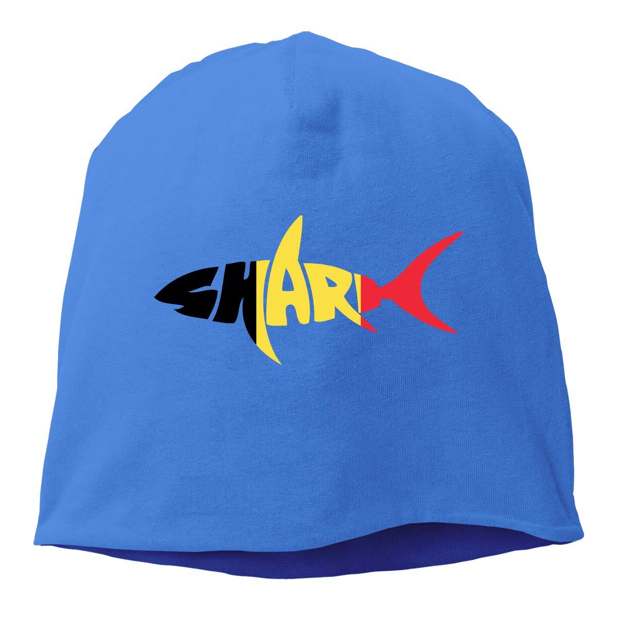 Winter Warm Daily Hat Belgium Flag Shark Letter Beanie Skull Cap for Women and Men