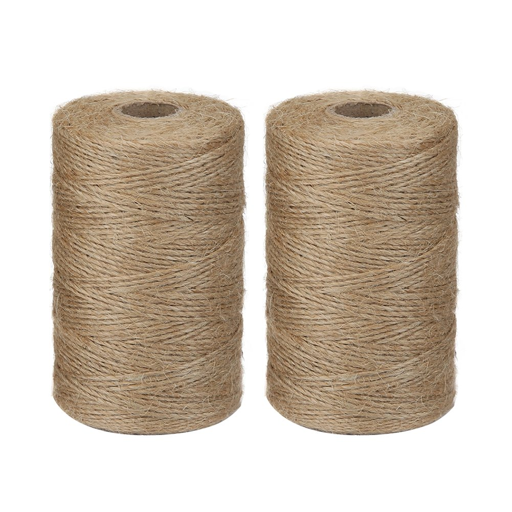 Vivifying 2pcs x 656 Feet Natural Jute Twine Brown Biodegradable 2Ply Garden Twine for Photos Crafts Gifts