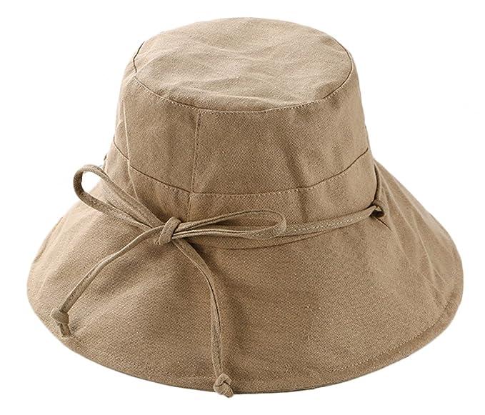 elezay Mujer UPF50+ verano de algodón visera ala ancha gorro sombrero con lazo Caqui Talla única HSHAT1008M