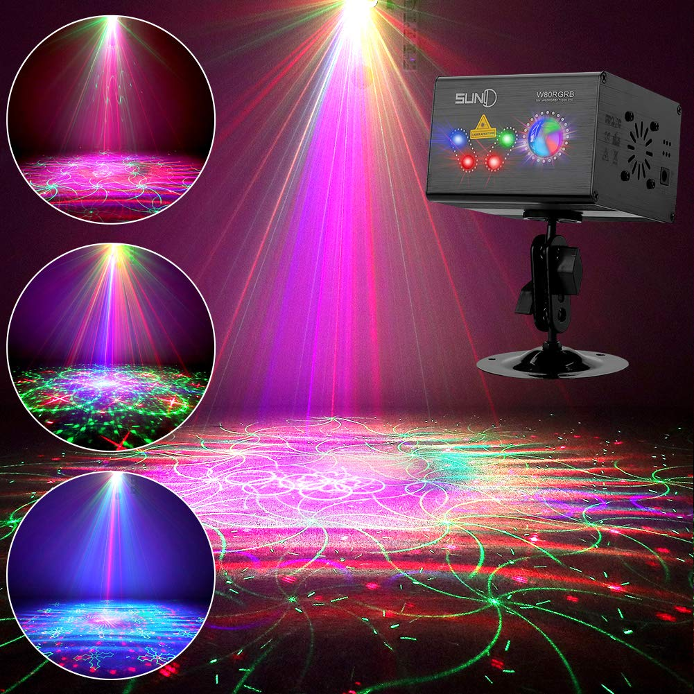 SUNY DJ Laser Light 80 RGB Multiple Patterns Party Laser Show Lighting w/LED Galaxy Ripple Wave Effects Sound Activated Gobo Projector for Disco Dances Club House Xmas Decor by SUNY