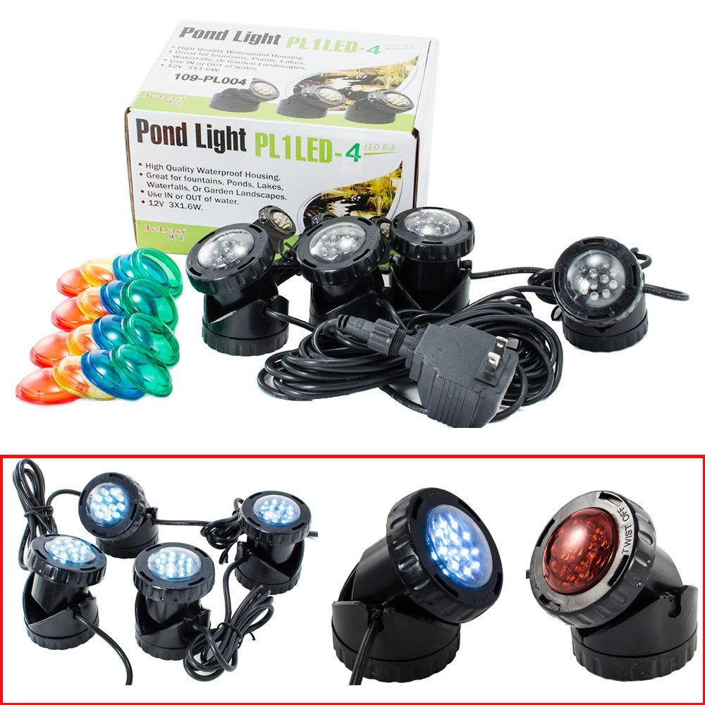 i-mesh-bean Jebao 12-LED Led Submersible Pond Lights,Set of 4/6 Underwater Pool Fountain Waterfall Lights PL1LED with Color Lens (Set of 4)