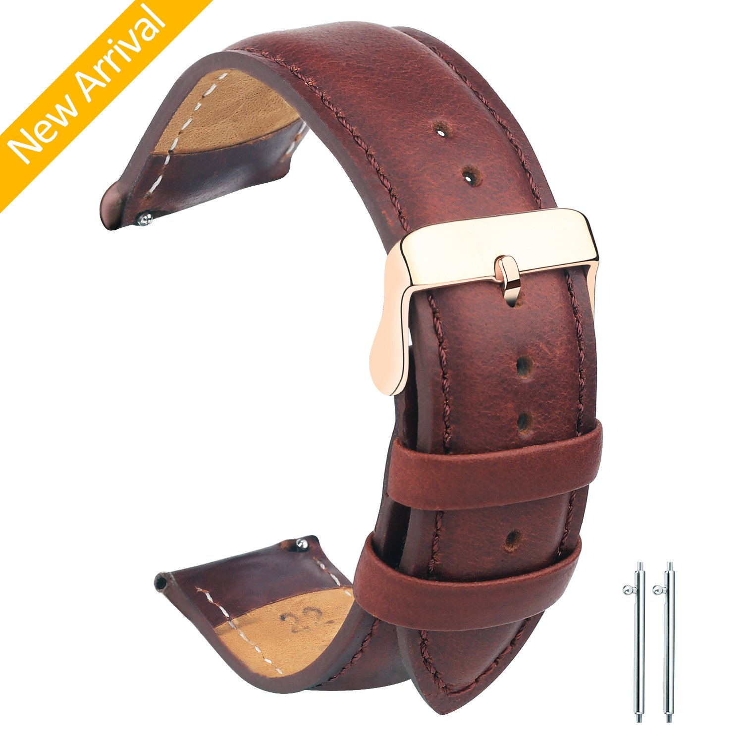 Vetoo 22mm/20mm Watch Bands Leather, Quick Release Classic Genuine Leather Replacement Watch Strap Wristband for Men and Women (Classic Brown & Rose Gold)