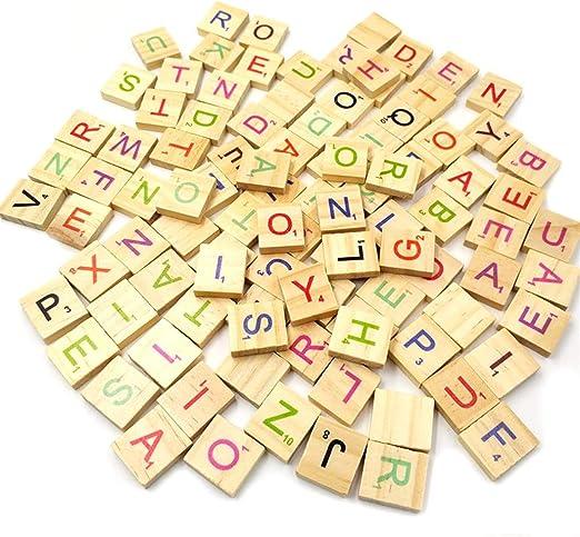 100 letras de madera para alfabeto con números de Scrabble inglés, juguete educativo para niños – estilo al azar: Amazon.es: Hogar