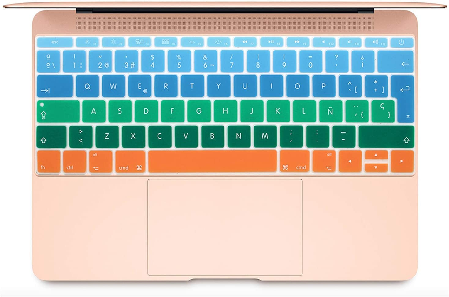 2020 Colorful Keyboard Film for Mac Book Pro 13 Not Touch Bar 12 Spanish EU Silicone Keyboard Protector Cover Skin Protective Film-J