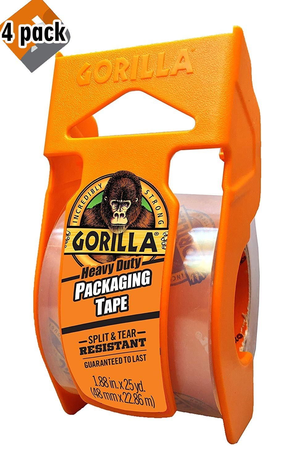 Gorilla Heavy Duty Packing Tape with Dispenser for Moving, Shipping and Storage, 1.88'' x 25 yd, Clear, 4 Pack by Gorilla