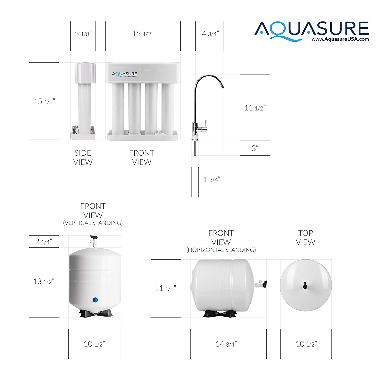 Aquasure RO System - Aquasure AS-PR75A-BN Reverse Osmosis System dimensions