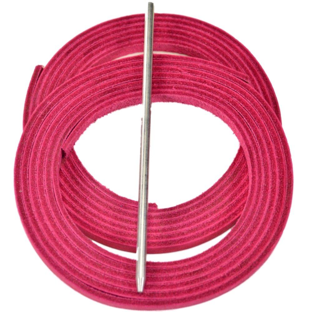 Highland 野球 ソフトボールグローブ用紐レースキット 2つのレザー紐 レース用ニードル B0188EQIAA ピンク ピンク