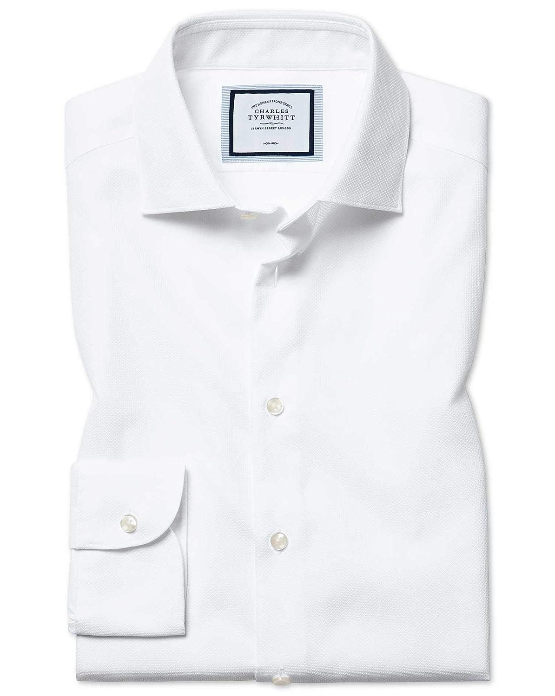 Chemise NaturelleHommest Stretch Blanche Slim Fit Sans Repassage   Blanc (Poignet Simple)   17   33