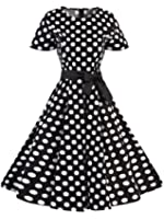 Horcute Women's BoatNeck Short Sleeve Vintage Cocktail Swing Party Dress