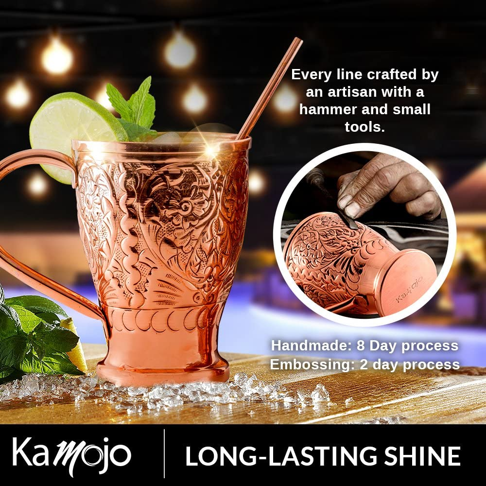 Moscow Mule Pure Copper Mugs with Bonus Copper Straws//Stir Sticks for Russian Vodka or Moscow Mules Kamojo Gift Set of 4 by Kamojo