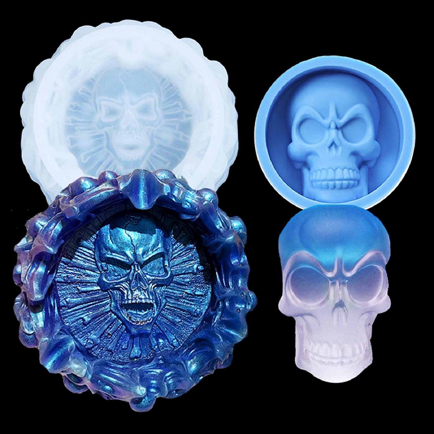 3D Skull Resin Silicone Mold for 2018 Halloween Cake Decorating