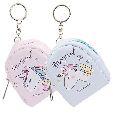 SPECOOL 2 Paquetes Mujeres PU Unicornio Mini Cartera Tarjeta titular de la clave Monedero Zip Monedero, Unicornio Monedero Mini Llavero Lindo Monedero ...