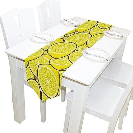 De Amarillo X Hogar13 70 Camino Decoración Limones Frutas Mesa Del 6yb7fgYv