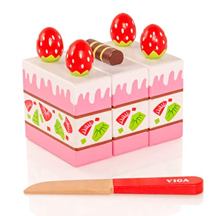 Viga Wooden Strawberry Cake Childrens Pretend Play Food Kitchen Toy