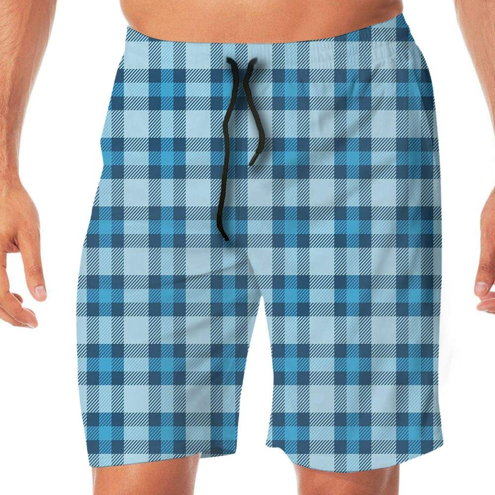 Haixia Mens Casual Boardshorts Checkered Intersecting Stripes Squares Picn