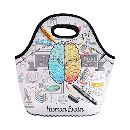 Semtomn Lunch Tote Bag Education Human Brain Diagram Doodles Psychology Creative Medical Idea Reusable Neoprene Insulated Thermal Outdoor Picnic