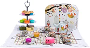 2CFUN Tin Tea Set with Cake Stand and Dessert Play Food for Kids with Case Tea Party Set for Girls Tea Time Toys Play Food Picnic Set Gift, Orange