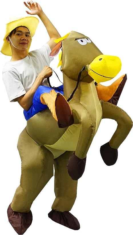 PARAYOYO Disfraz Inflable para Adultos a Caballo Cowboy Cowgirl ...