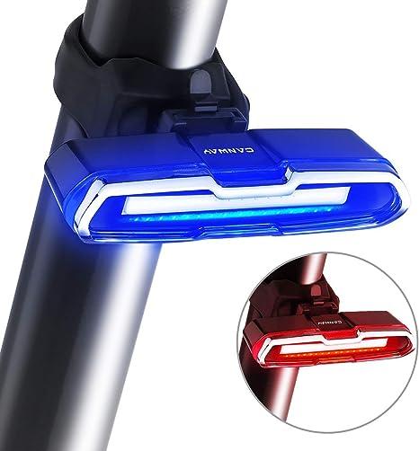 ASUD Luz Trasera de Bicicleta Inteligente, frenado Inteligente USB Recargable Luz Trasera de Carga USB Luz de Advertencia Intermitente de Bicicleta Luz Trasera de Carga LED: Amazon.es: Deportes y aire libre