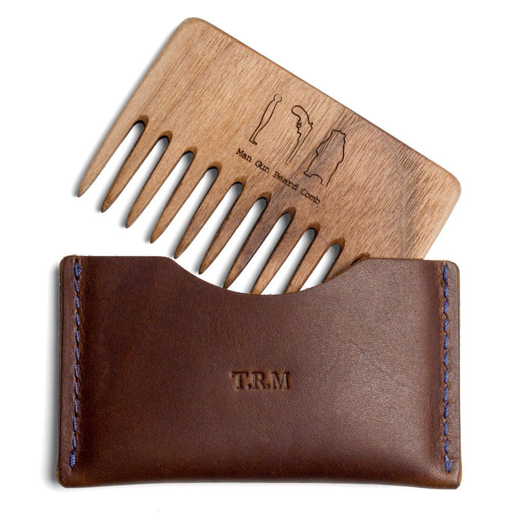 Personalised Wood Beard Comb and Leather Pouch/Gift for Bearded Men