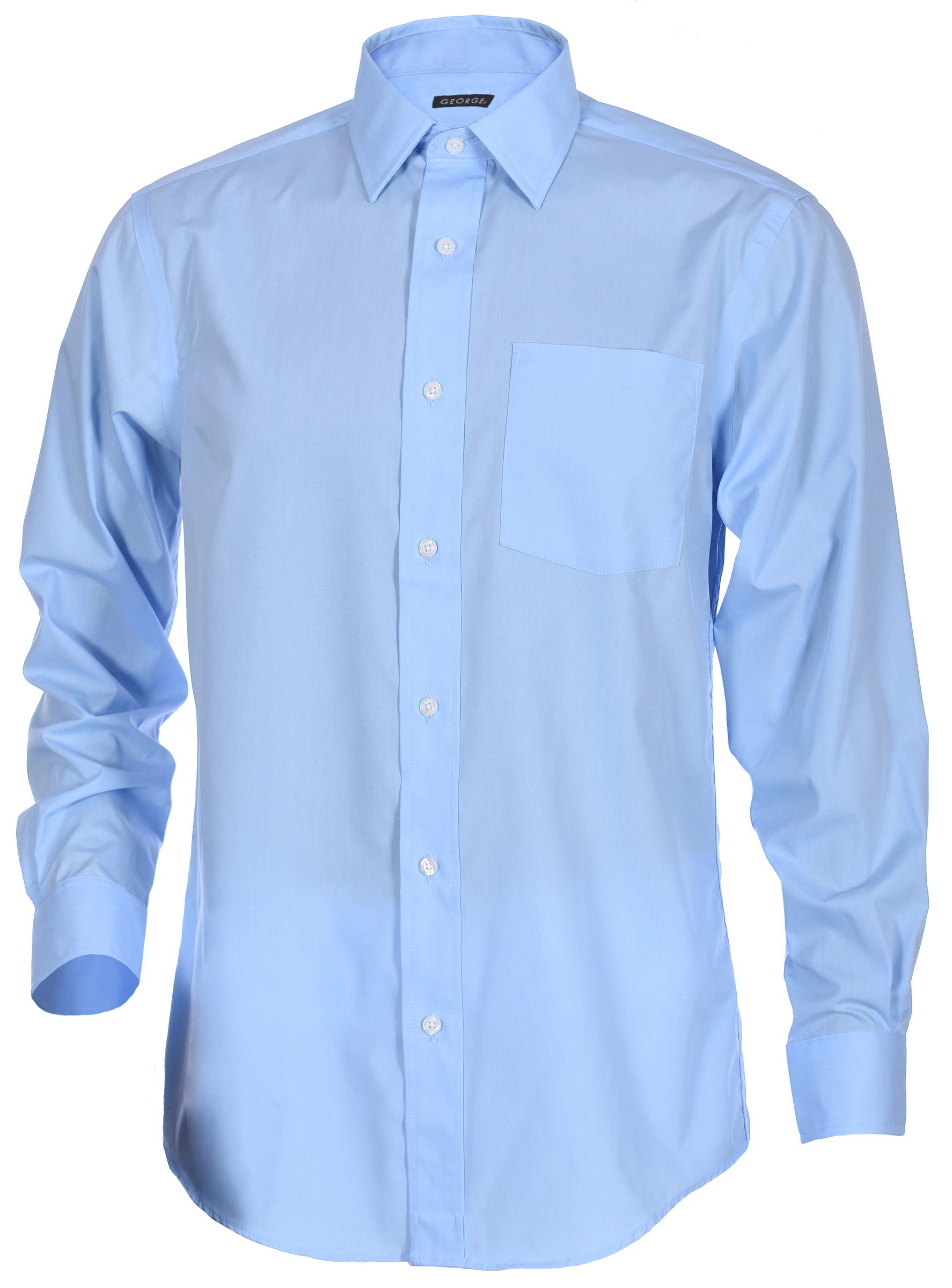 George Men's Classic Fit Long Sleeve Poplin Solid Button-Up Dress Shirts (Medium Long, Medium Blue) by George (Image #1)