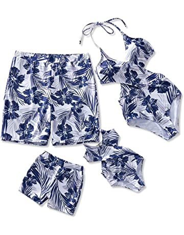 7ce8a124f94 Yaffi Family Matching Swimwear One Piece Bathing Suit Floral Printed Hollow  Out Monokini Mommy and Me