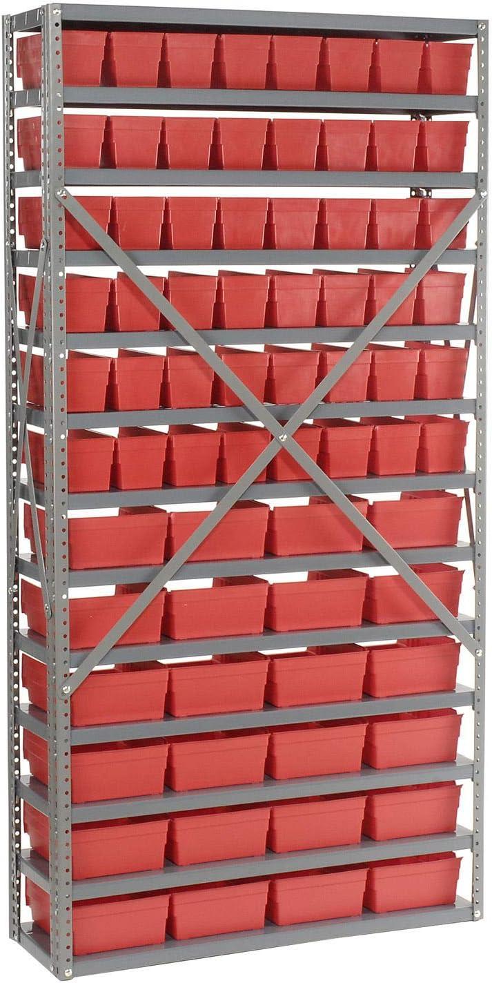 Red 72 36x12x72 4 H Plastic Shelf Bins 13 Shelf Steel Shelving with