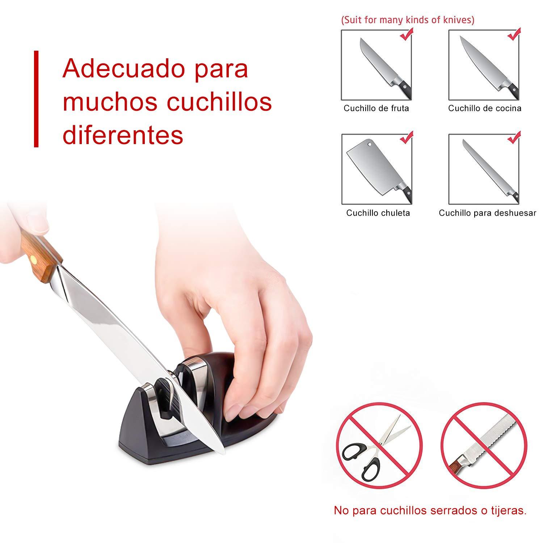 hanmir Afilador Cuchillos Profesional Afilador Cuchillos de Cocina de 2 Etapas, Varilla de Cerámica y Hoja de Acero de Tungsteno,para Cuchillos de ...