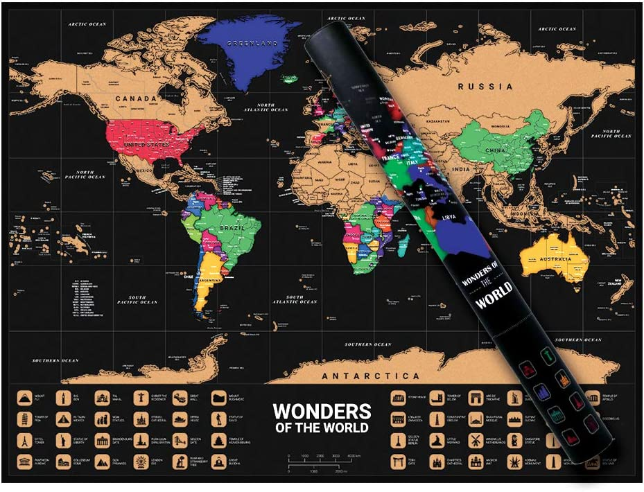 Size 50 x 72cm or 19 x 28 inch WESTROUTE Scratch World Map Travellers Adventure Black Waterproof Glossy Gold Easy to Scratch Poster Best Personalised Gift