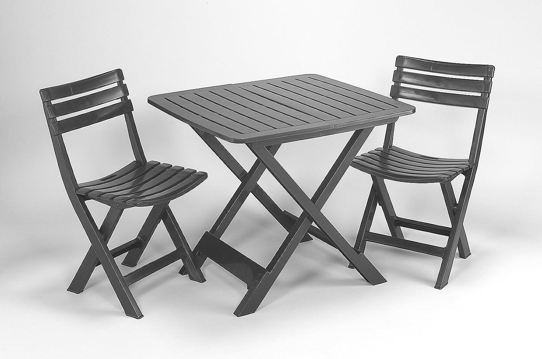 3-teiliges Kunststoff Gartenmöbel Set Camping anthrazit, komplett klappbar, perfekt auch für den Balkon, IPEA Progarden, Made IN Europe