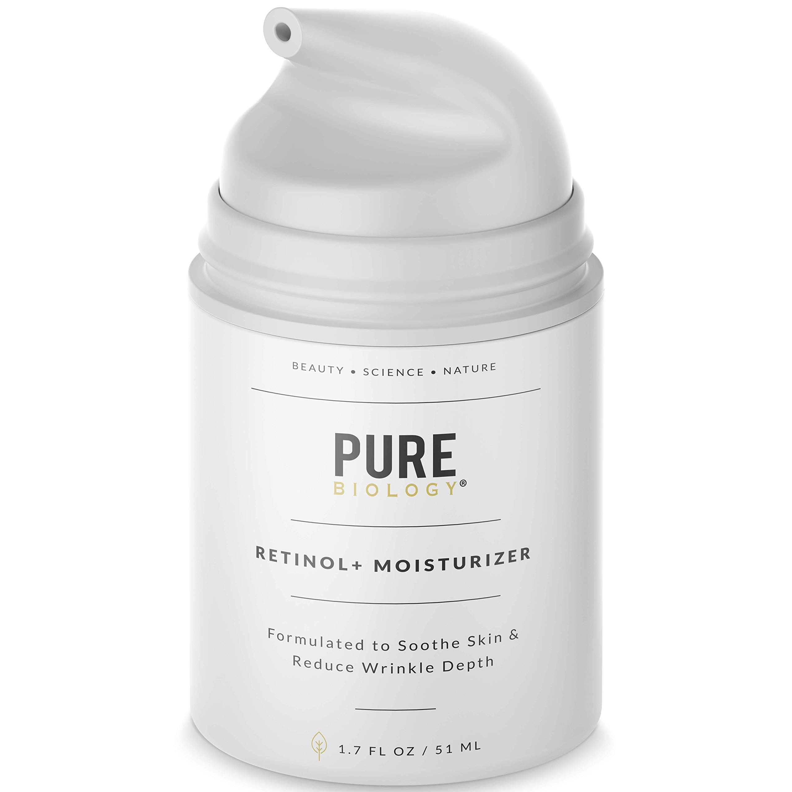 Pure Biology Premium Retinol Cream Face Moisturizer with Hyaluronic Acid, Vitamins B + C & Anti Aging Wrinkle Complexes for Men & Women, 1.7 oz by Pure Biology