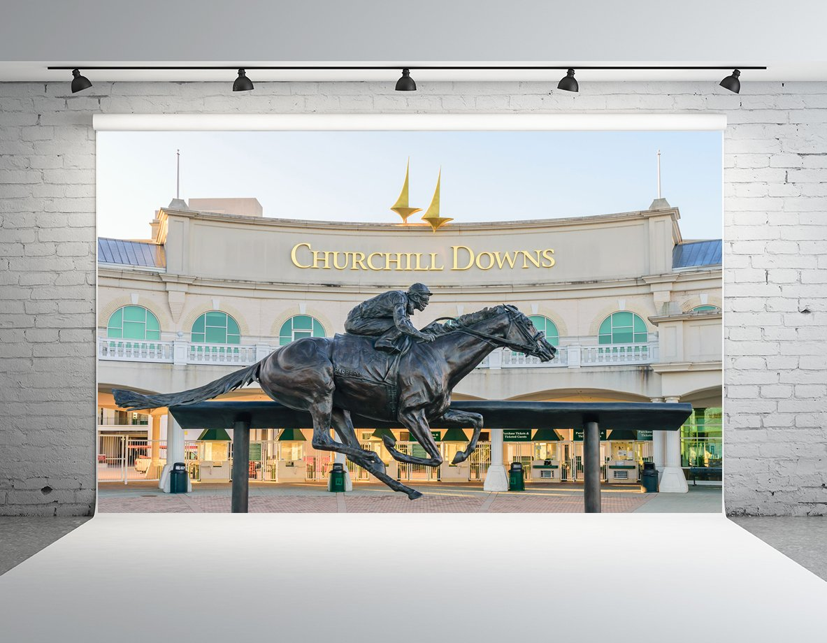Kate 10x8ft Kentucky Horse Track Background for Photography Statue Photo Backdrop Photo Booth Props
