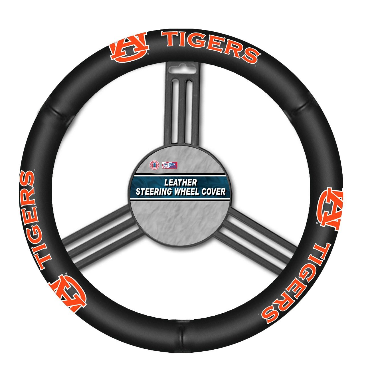 023245581219 NCAA Leather Steering Wheel Cover Black One Size Fremont Die Inc