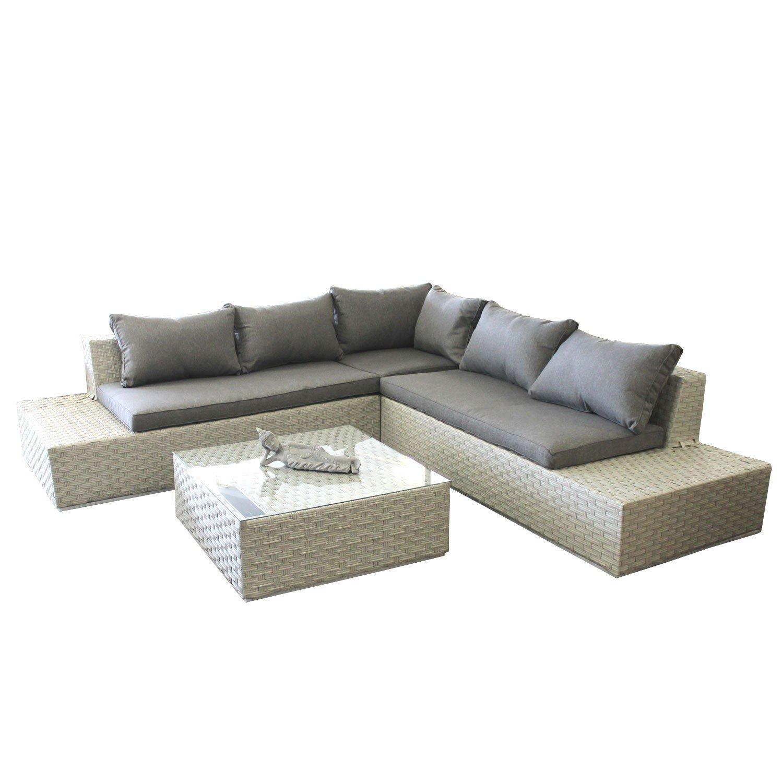 14tlg sitzlandschaft polyrattan inkl polster gartengarnitur couchgarnitur lounge rattanm bel. Black Bedroom Furniture Sets. Home Design Ideas
