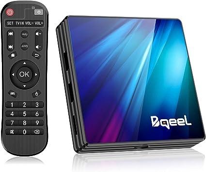 Bqeel Android TV Box 9.0 4GB RAM 64GB ROM, R1 Plus Android Box RK3318 Quad- Core 64bits Dual-Band WiFi 2.4G/5G BT 4.0 3D 4K Ultra HD H.265 USB 3.0 Smart TV Box: Amazon.es: