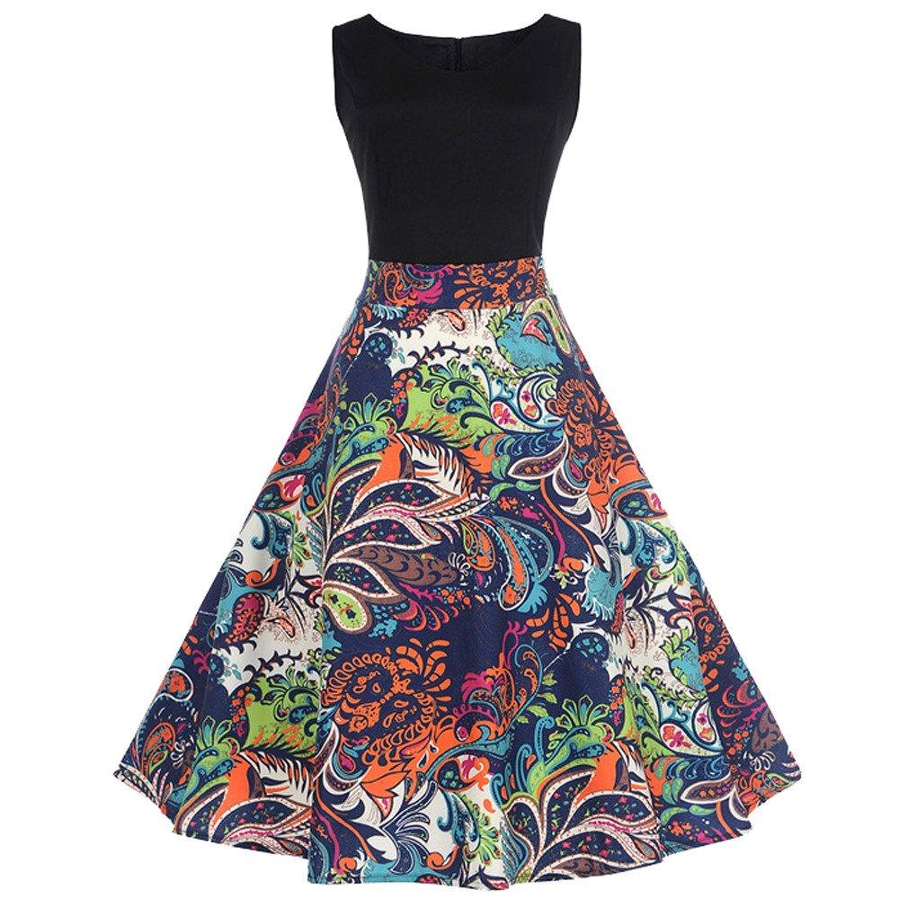50S 60S Vintage Dresses Sleeveless for Women Print Casual Patchwork Prom Swing Dresses for Summer D-Black