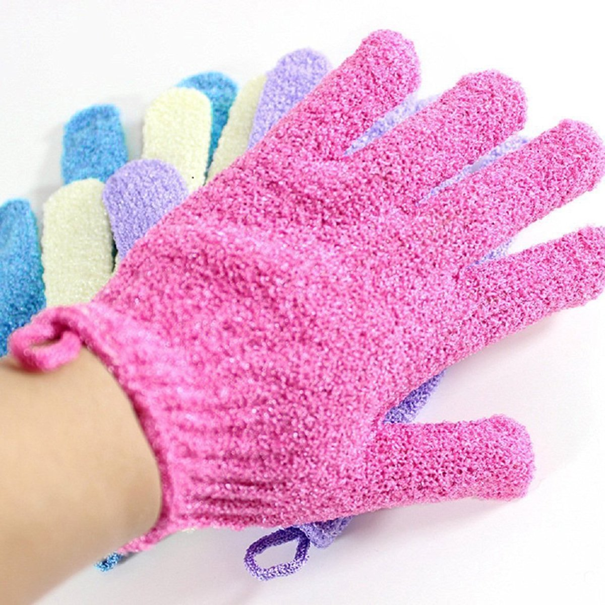 Moonmini® 4 Pair Set Scrubbing Exfoliating Gloves ★ Double Side Durable Nylon Shower Gloves ★ Body Scrub Exfoliator for Men, Women & Kids ★ Bath Scrubber for Acne & Dead Cell