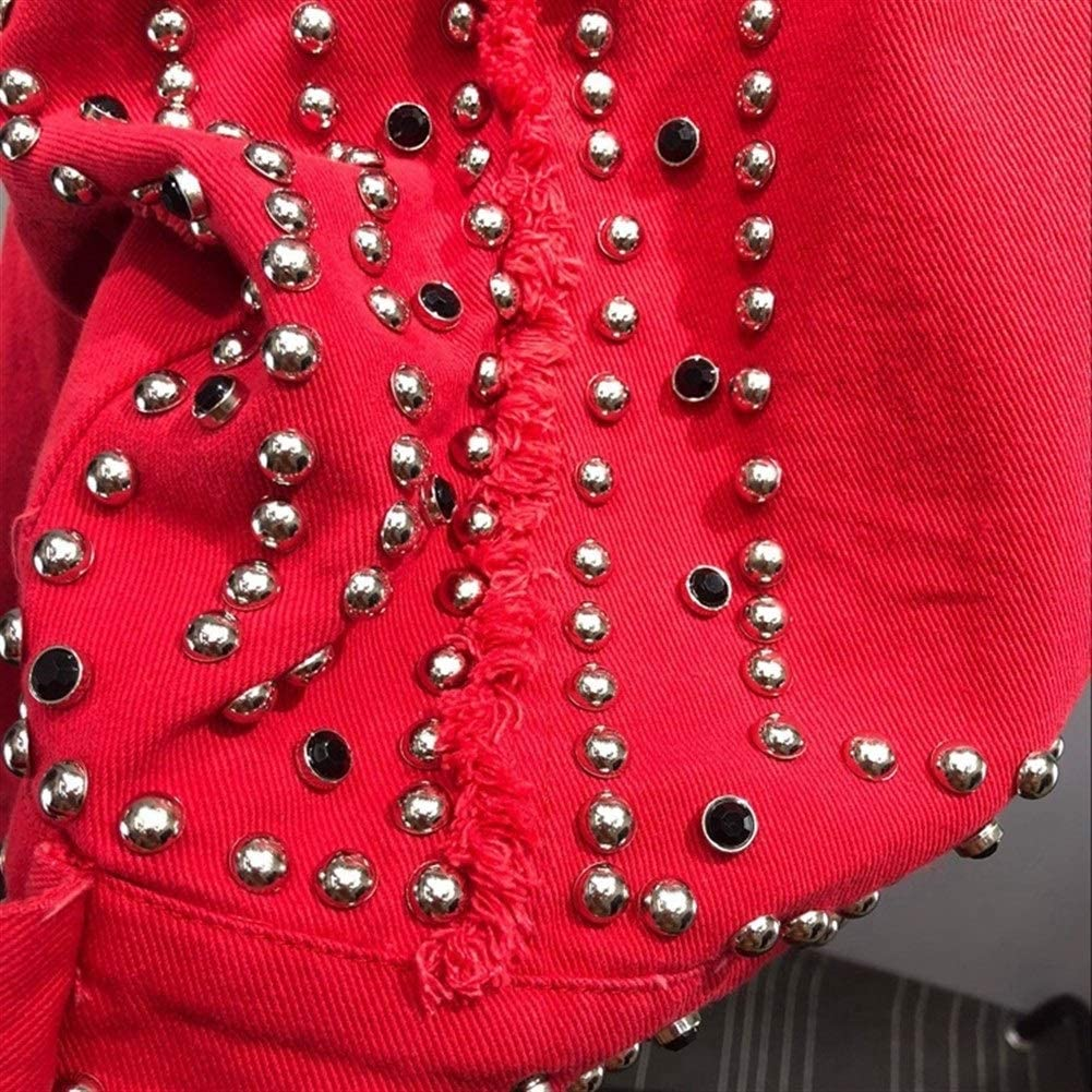 Txrh Loisir Femmes Harajuku Denim Rouge Veste Manteau main perlée Rivet court Noir Jean Vestes étudiants de base Manteaux Outfit Blue