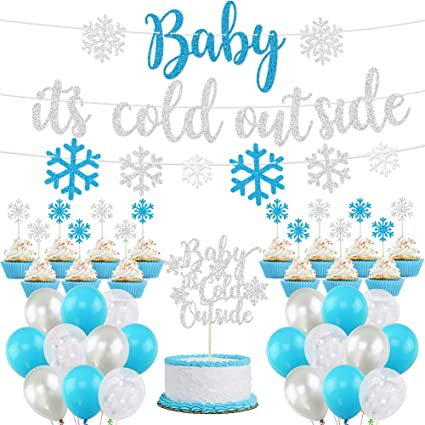 Garland for Winter Wonderland Baby Shower Silver K KUMEED Baby It/'s Cold Outside Party Decorations Winter Birthday Party Supplies Christmas Snowflake Balloons Banner