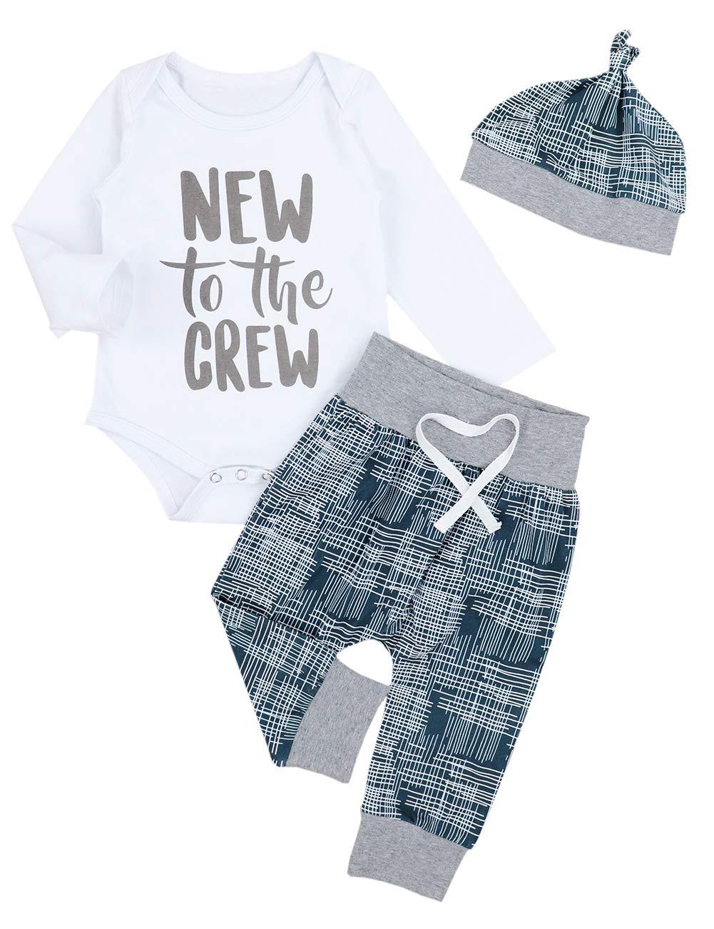 Newborn Baby Boy Girl Clothes Crew Letter Print Romper+Long Pants+Hat 3PCS Outfits Set (3-6M)