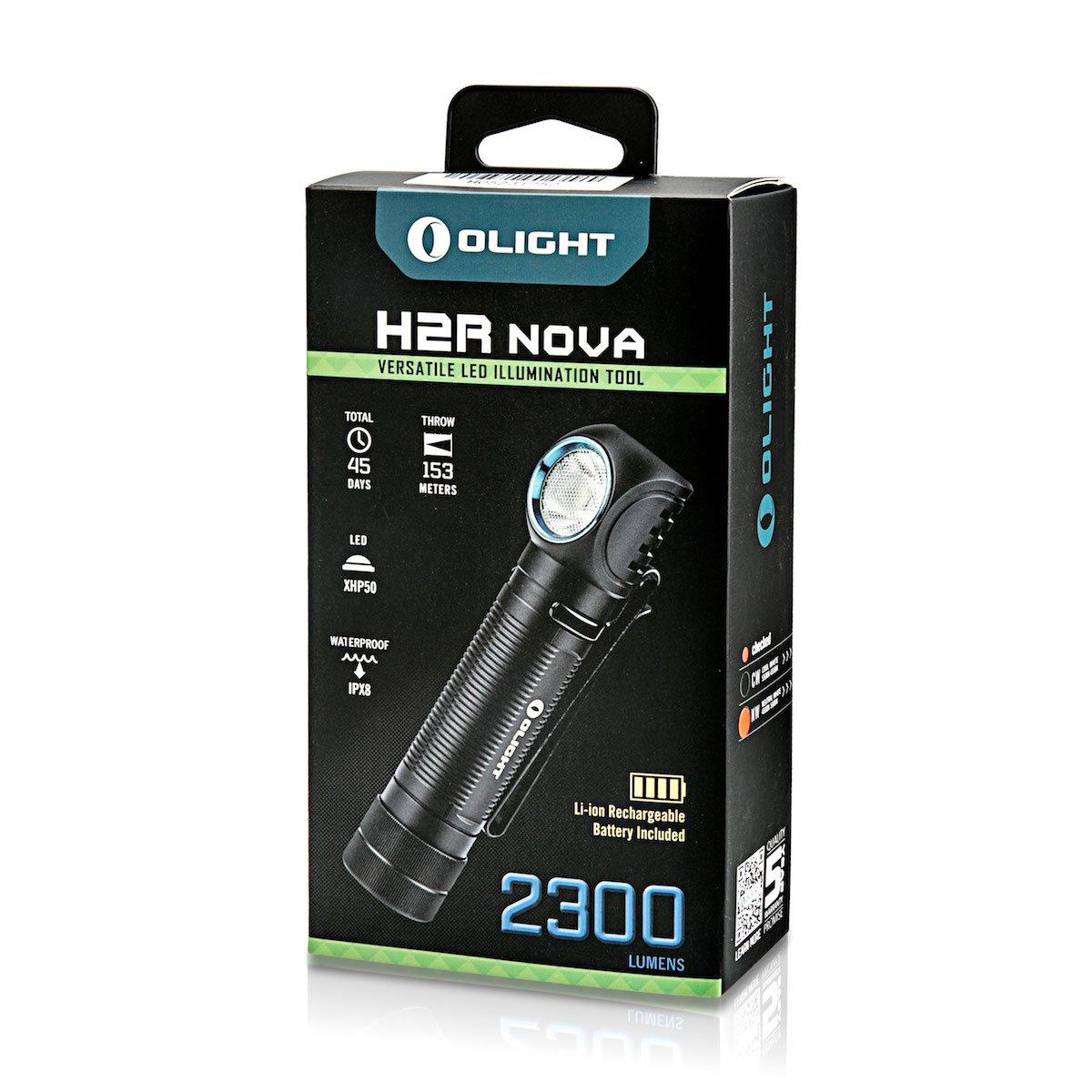 1 /×18650 bater/ía incluida Olight/® H2R Nova linterna frontal recargable,vers/átil con CREE XHP50 LED Blanco neutro , blanco fr/ío