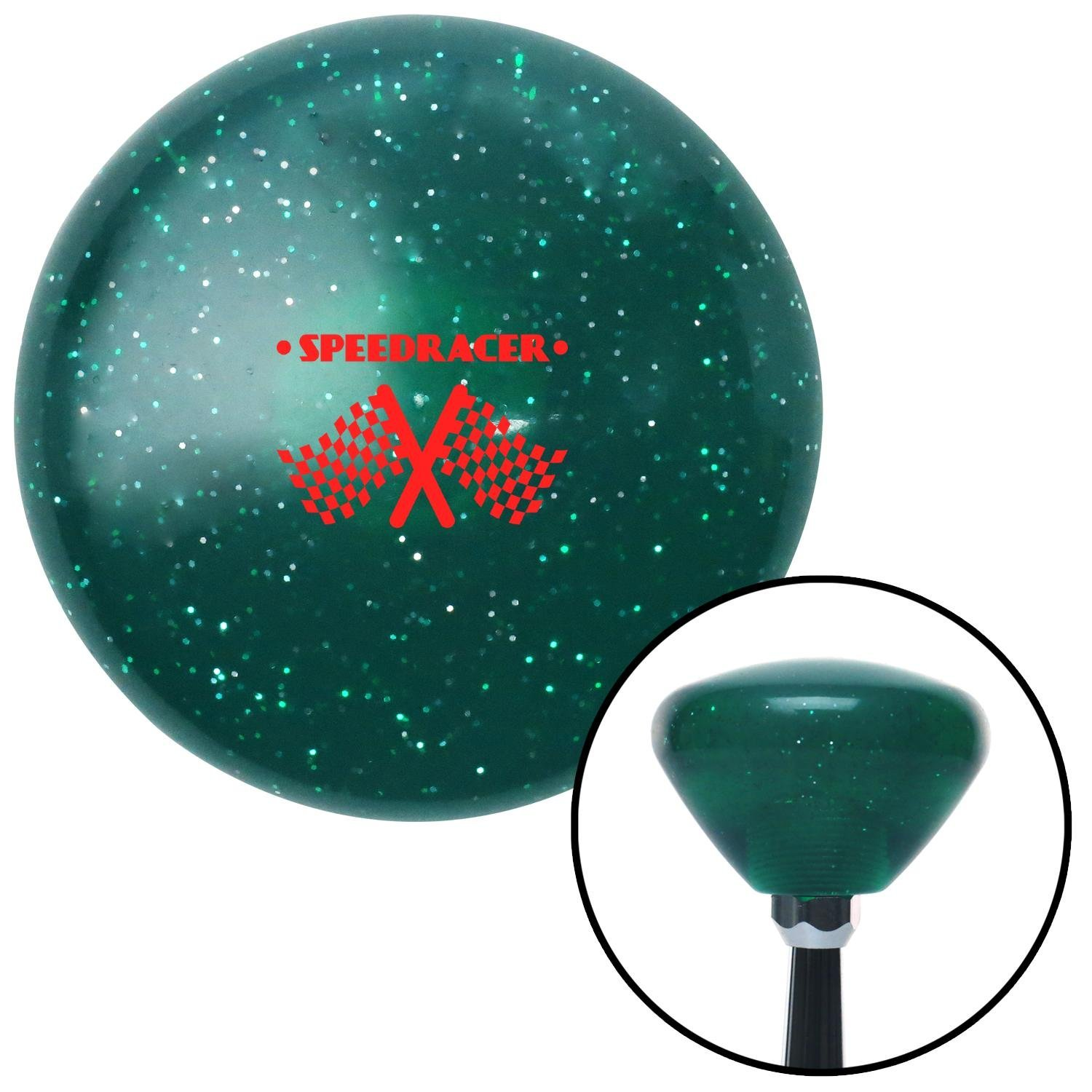 American Shifter 292629 Shift Knob Red Speed Racer Green Retro Metal Flake with M16 x 1.5 Insert