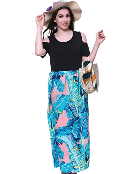 MORCOE Womens Summer Plus Size Dress,Floral Lightweight Hawaiian Boho Beach Holiday Party Casual Maxi Dress