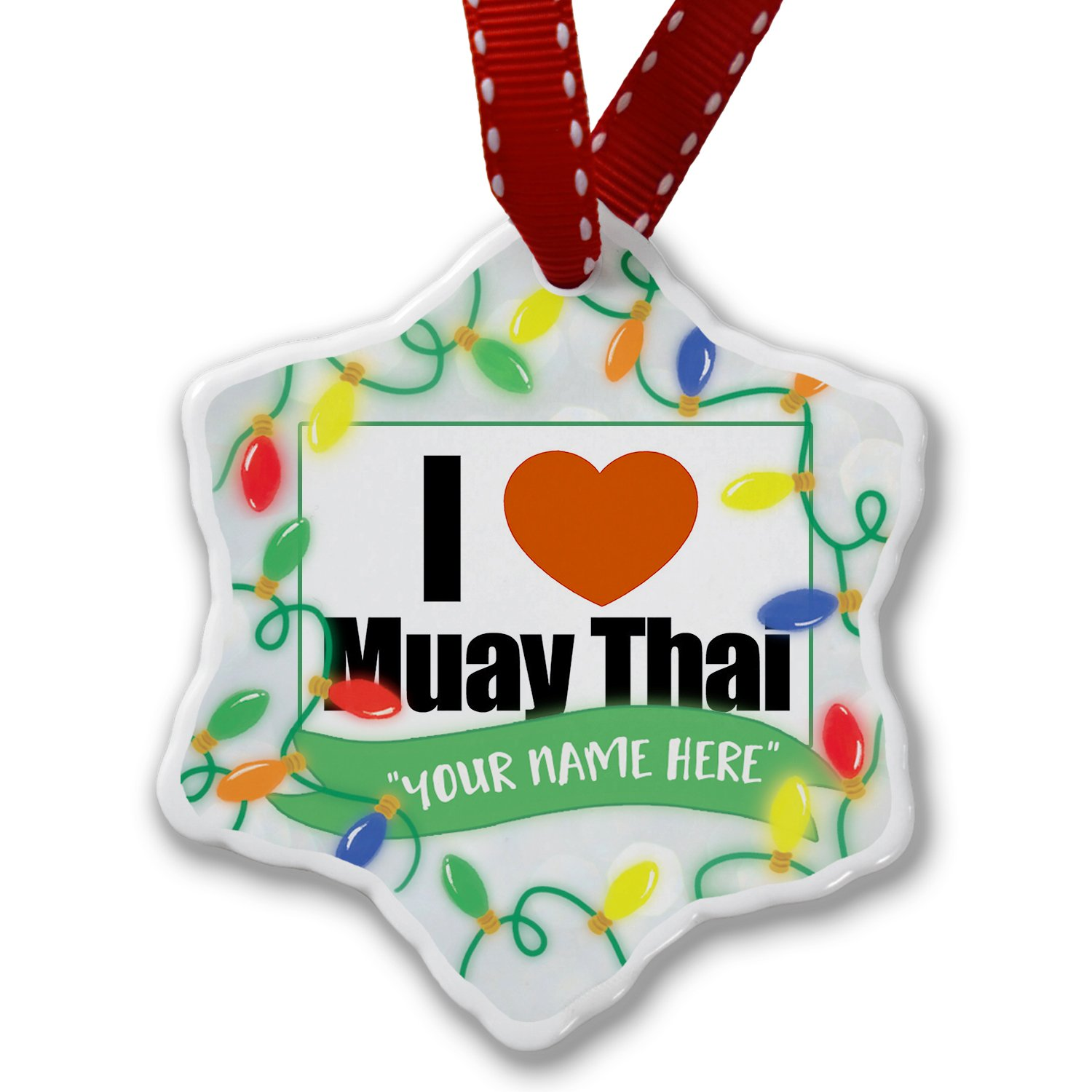 Personalized Name Christmas Ornament, I Love Muay Thai NEONBLOND