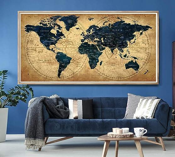 Large World Map Amazon.Amazon Com Decorative Extra Large World Map Push Pin Travel Wall